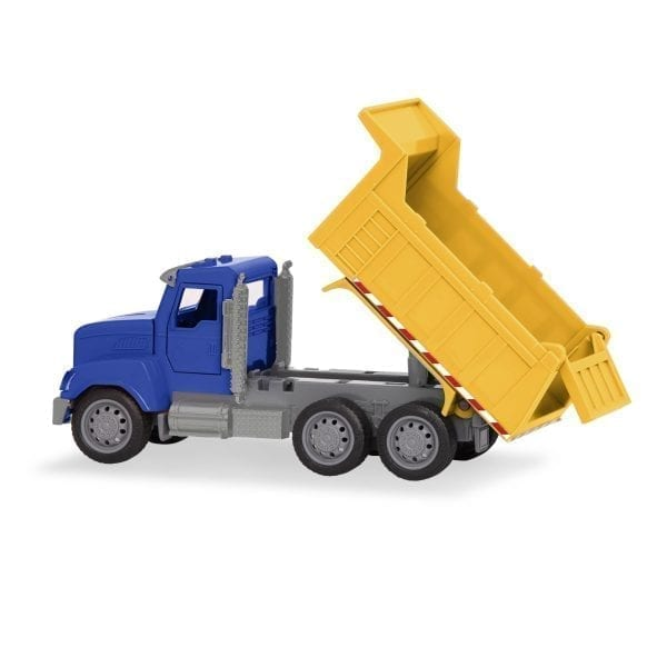 Toy dump truck with tilted container.