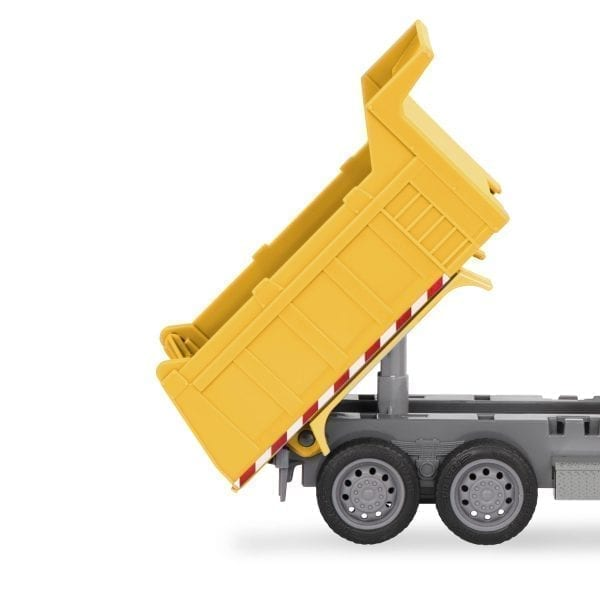 Toy dump truck's tilted container.