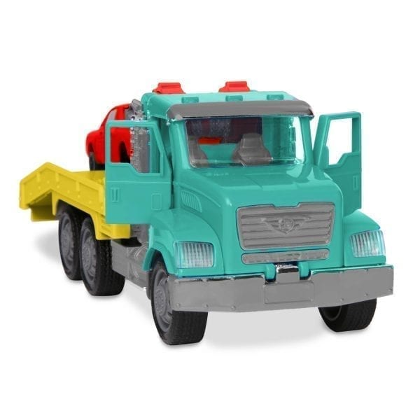 Toy tow truck with doors open.