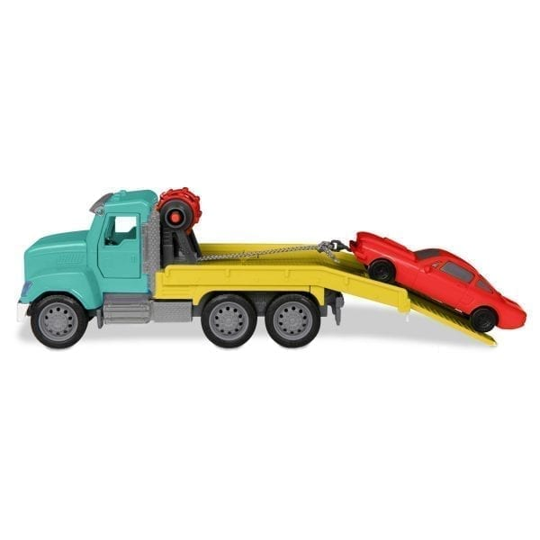 Toy tow truck and toy car.