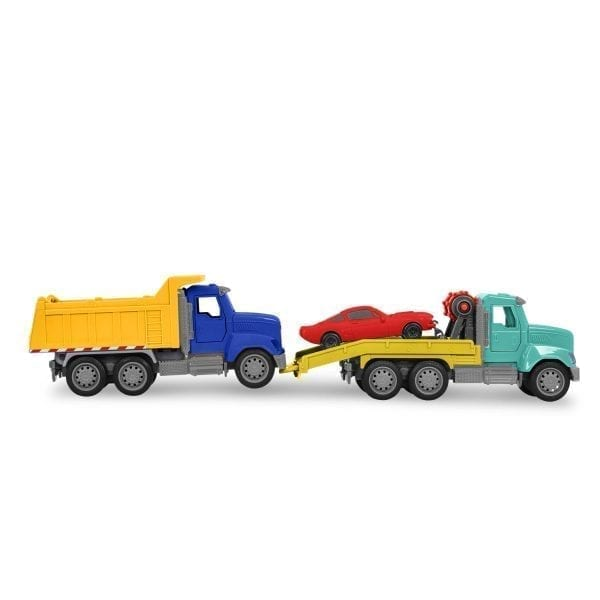 Two toy trucks and a toy car.