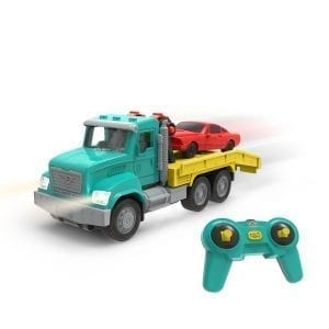 Toy tow truck with remote control.