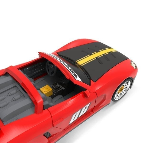 Interior shot of sports car toy.