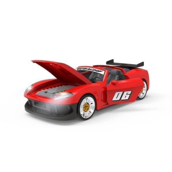Sports car toy with headlights on and doors and hood open.