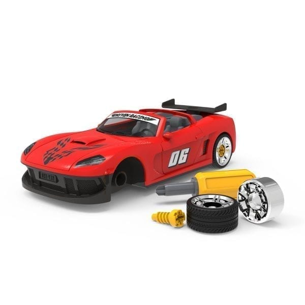 Take-apart sports car toy with accessories.