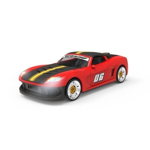 Sports car toy with headlights on.