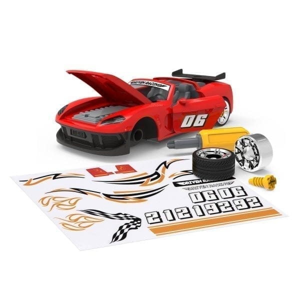 Red take-apart sports car toy with accessories.