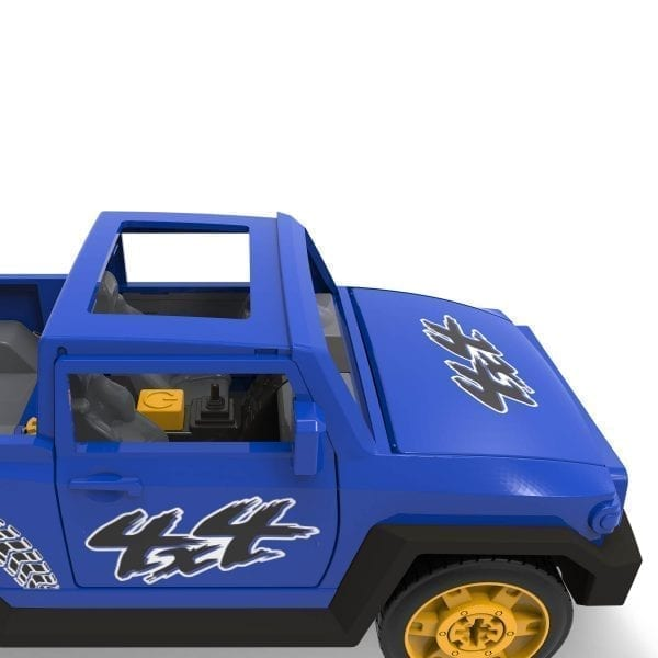 Front of blue take-apart SUV toy.