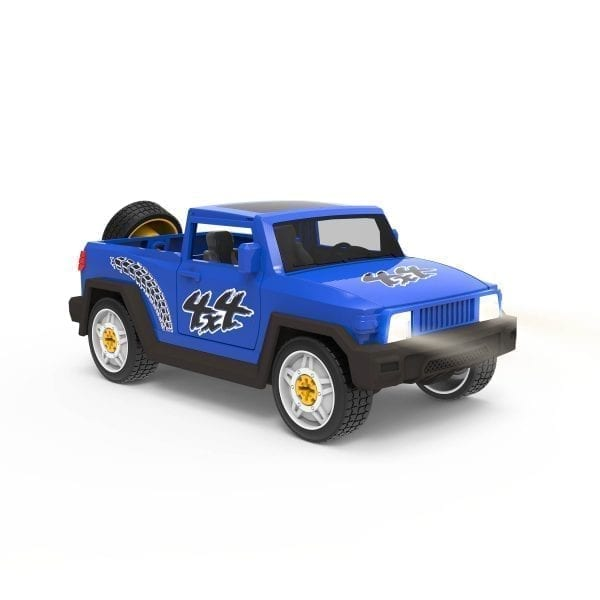 Blue SUV toy with headlights on.