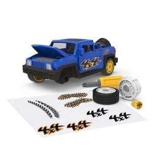 Blue take-apart SUV toy with accessories.