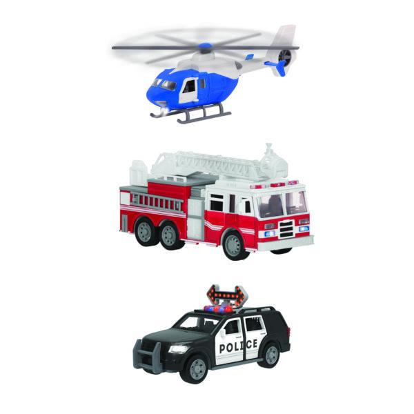 3 toy emergency vehicles.