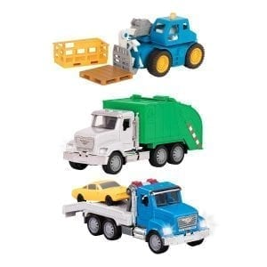 Three toy trucks.